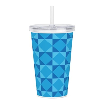 Geometric Blue Checker Acrylic Double-wall Tumbler