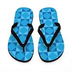 Geometric Blue Checkerboard Flip Flops