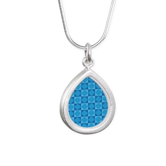 Geometric Blue Checkerbo Silver Teardrop Necklace