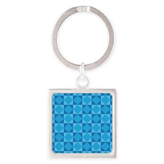 Geometric Blue Checkerboard Square Keychain