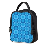 Geometric Blue Checkerboard Neoprene Lunch Bag