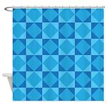 Geometric Blue Checkerboard Shower Curtain