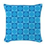 Geometric Blue Checkerboard Woven Throw Pillow