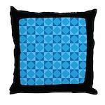Geometric Blue Checkerboard Throw Pillow