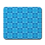 Geometric Blue Checkerboard Mousepad