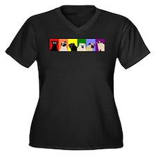 PugPride Women's Plus Size V-Neck Dark T-Shirt