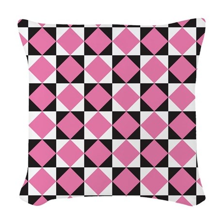 Diamond Black White Woven Throw Pillow