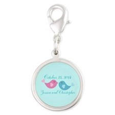 Teal Save the Date Silver Round Charm