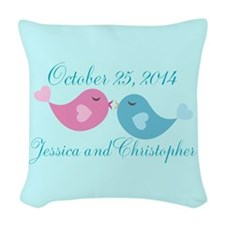 Teal Save the Date Woven Throw Pillow