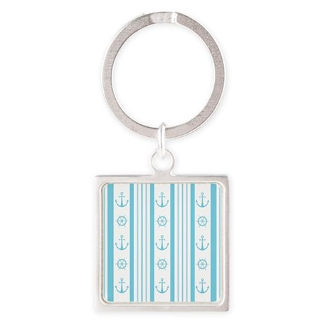 Anchor Nautical Turquoise Square Keychain