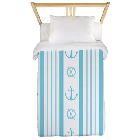 Anchor Nautical Turquoise Twin Duvet