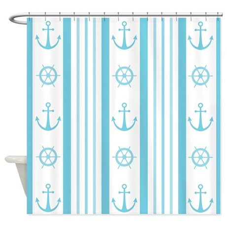 Anchor Nautical Turquoise Shower Curtain