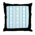 Anchor Nautical Turquoise Throw Pillow