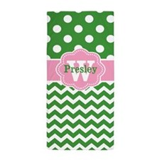 Green Pink Dots Chevron Personalized Beach Towel
