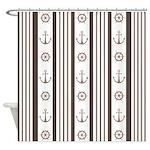 Anchor Nautical Tan Shower Curtain