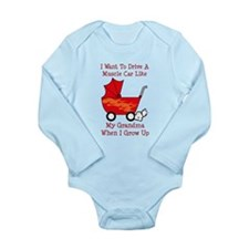 Funny Muscle cars Long Sleeve Infant Bodysuit