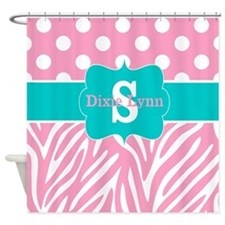 Pink Teal Zebra Dots Personalized Shower Curtain