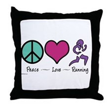 Peace- Love- Running Throw Pillow