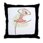 Retro Ballerina Girl Throw Pillow