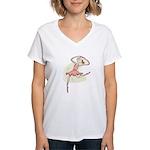 Retro Ballerina Girl Women's V-Neck T-Shirt
