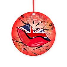 Lips, United Kingdom Ornament (Round)