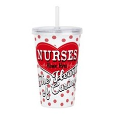 Nurses Caring Heart Acrylic Double-Wall Tumbler