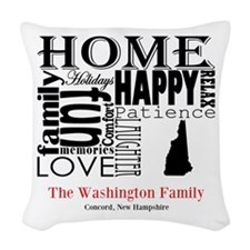New Hampshire Text Woven Throw Pillow