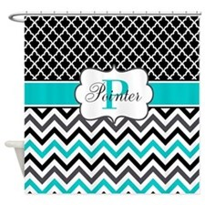 Black Teal Quatrefoil Chevron Personalized Shower Curtain