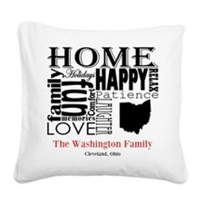 Ohio Text Square Canvas Pillow