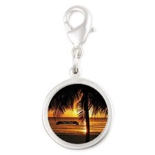 Caribbean tropical sunset Silver Round Charm