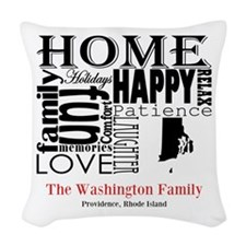 Rhode Island Text Woven Throw Pillow