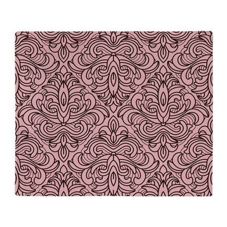 Art Deco Damask pink Throw Blanket