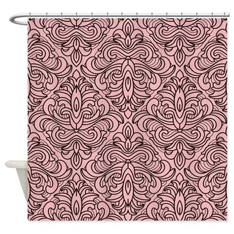 Art Deco Damask pink Shower Curtain