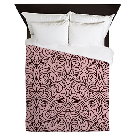 Art Deco Damask pink Queen Duvet