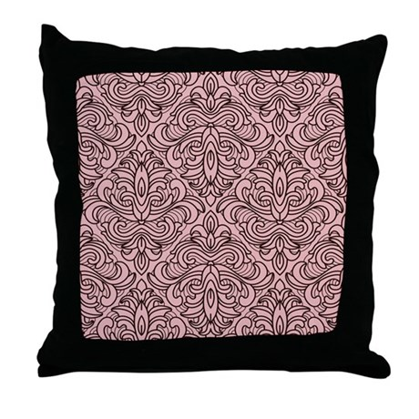 Art Deco Damask pink Throw Pillow