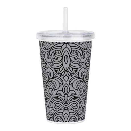 Art Deco Damask gray Acrylic Double-wall Tumbler