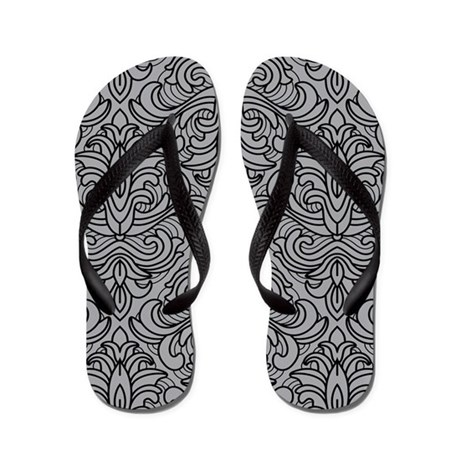 Art Deco Damask gray Flip Flops