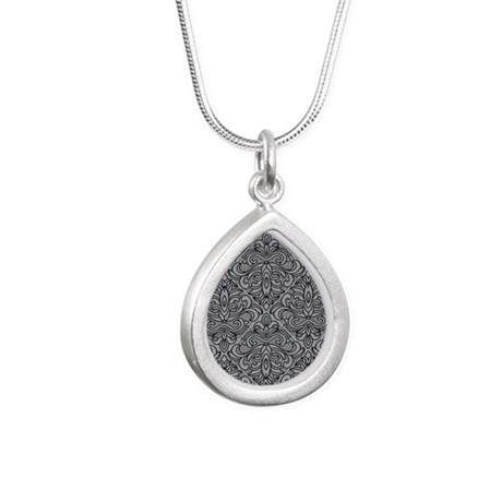 Art Deco Damask gray Silver Teardrop Necklace