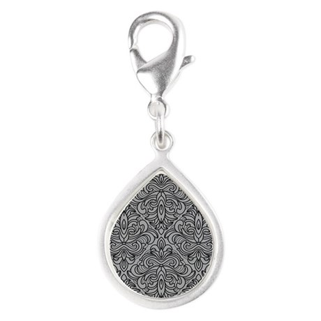 Art Deco Damask gray Silver Teardrop Charm