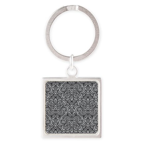 Art Deco Damask gray Square Keychain