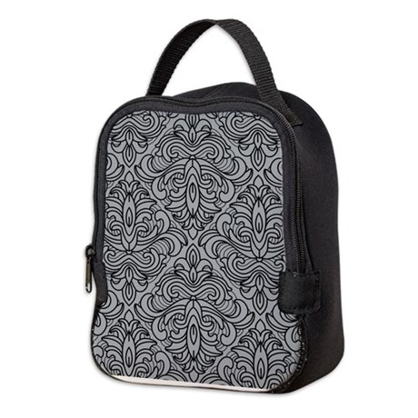 Art Deco Damask gray Neoprene Lunch Bag