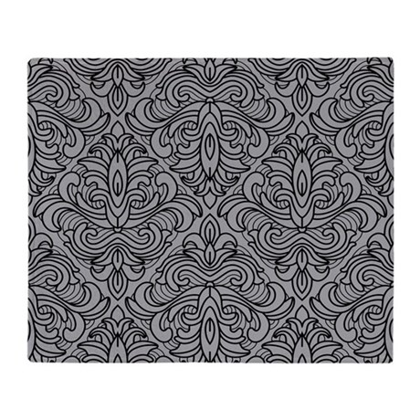 Art Deco Damask gray Throw Blanket