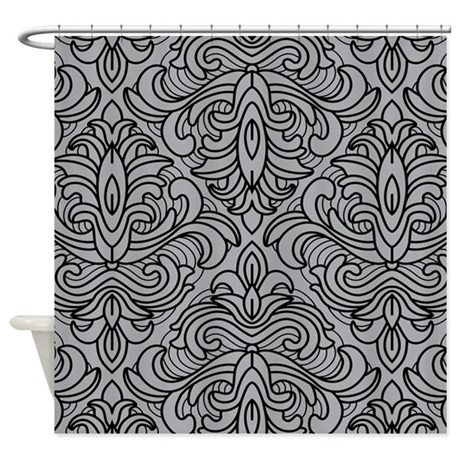 Art Deco Damask gray Shower Curtain