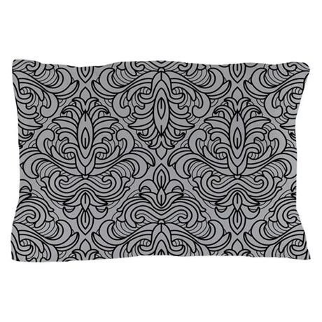 Art Deco Damask gray Pillow Case