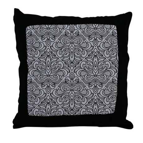 Art Deco Damask gray Throw Pillow