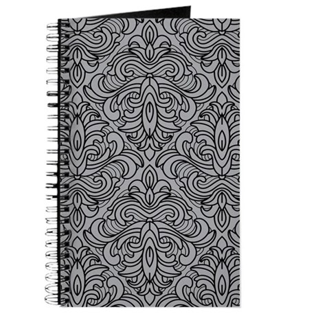 Art Deco Damask gray Journal