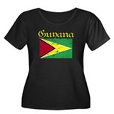 Guyanese Flag Women's Plus Size Scoop Neck Dark T-