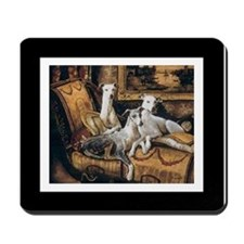 Whippets w white outline Mousepad