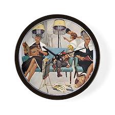 Retro Beauty Salon, Vintage Poster Wall Clock