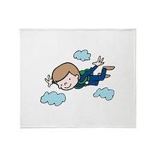 Skydiving Boy Throw Blanket